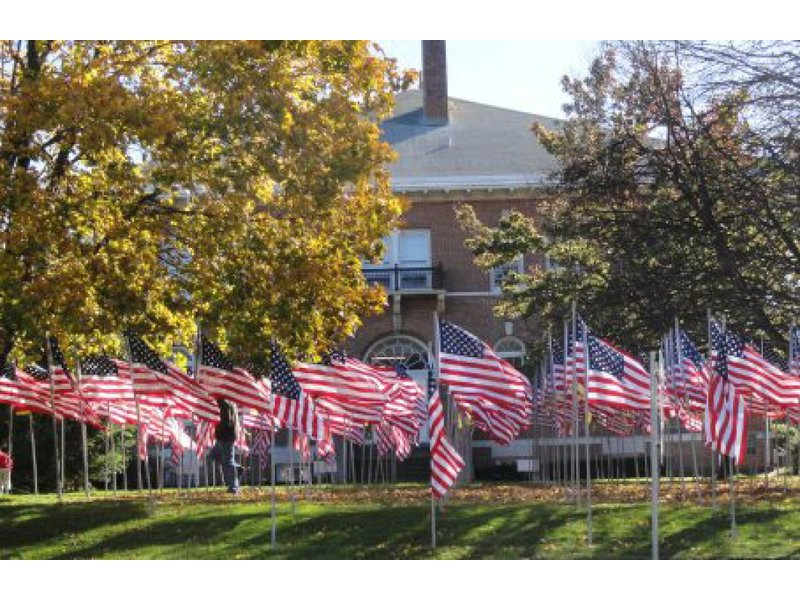 American flags fly in Huntington, Long Island NY
